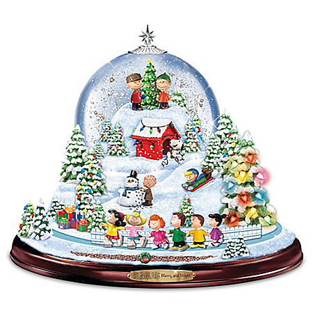 PEANUTS Merry And Bright Christmas Musical Snowglobe
