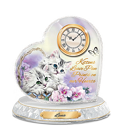 Kitten Sweethearts Personalized Clock By Kayomi Harai