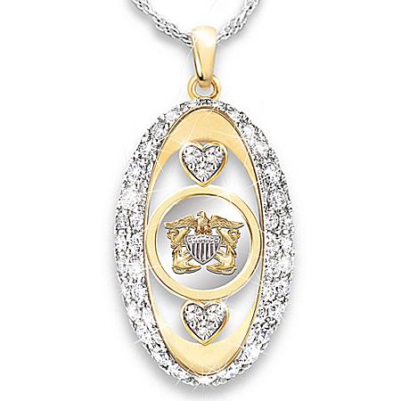 Navy Pride Swarovski Crystal Pendant Necklace