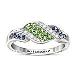 Go Seahawks Sterling Silver Crystal Ring