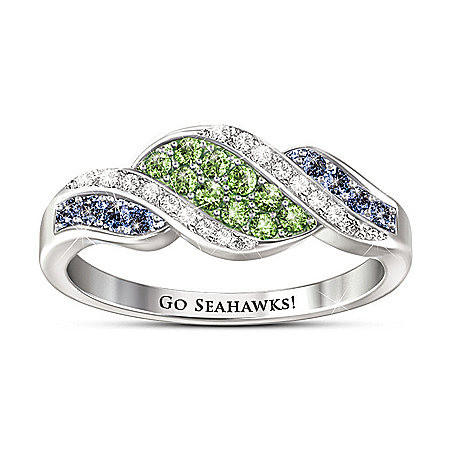 Go Seahawks! NFL Seattle Seahawks Women's Crystal Sterling Silver Ring