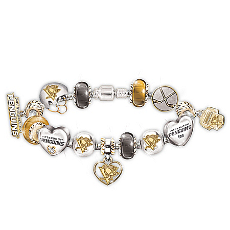 Pittsburgh Penguins® #1 Fan Charm Sterling Silver-Plated Bracelet