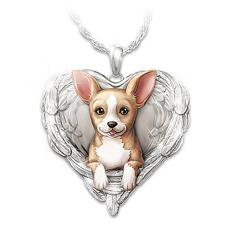 Chihuahuas Are Angels Heart Pendant Necklace