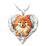 Pomeranians Are Angels Heart Pendant Necklace