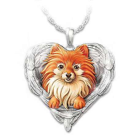Pomeranians Are Angels Heart Pendant Necklace