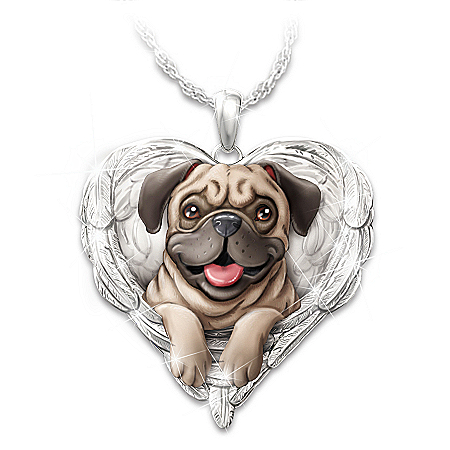 Pugs Are Angels Heart Pendant Necklace