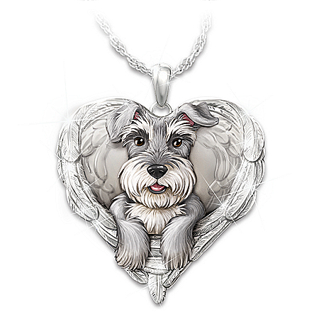 Schnauzers Are Angels Heart Pendant Necklace