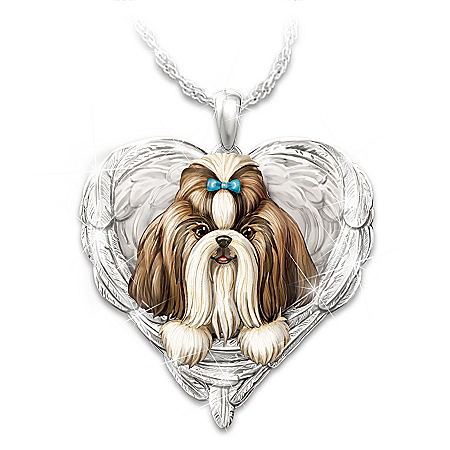 Shih Tzus Are Angels Heart Pendant Necklace
