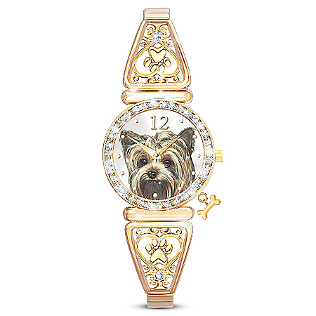 Forever Faithful Women's Crystal Yorkie Stretch Watch