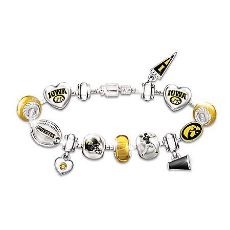Go Iowa Hawkeyes! #1 Fan Charm Bracelet