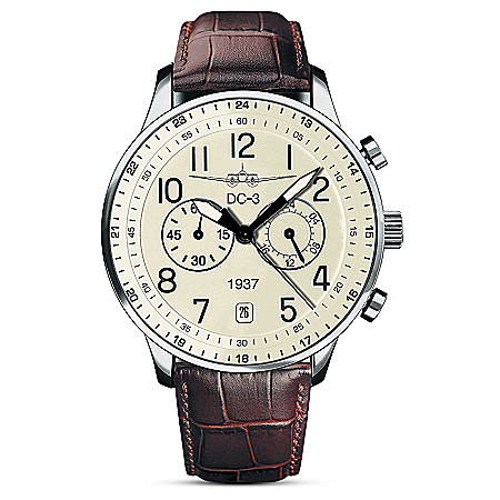 The DC-3 Airplane Classic Chronograph Stainless Steel Men's Watch