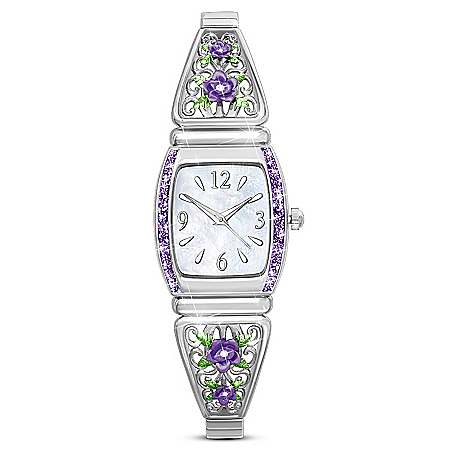 Midnight Rose Floral Design Women's Watch With Mother-Of-Pearl Face