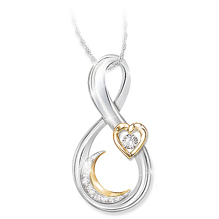 Love You To The Moon And Back Granddaughter Diamond Pendant Necklace