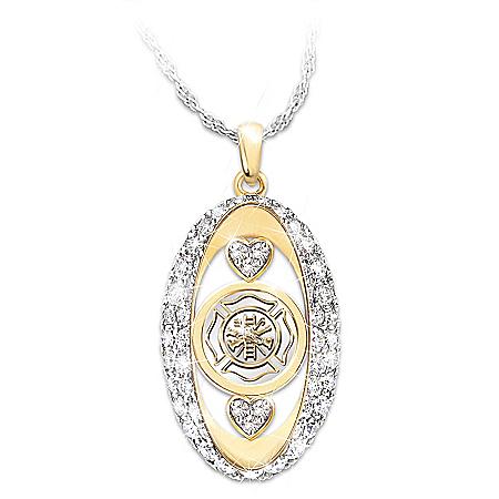 Firefighter Tribute Swarovski Crystal Pendant Necklace: Bradford Exchange