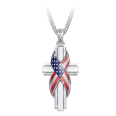 God Bless America Patriotic Cross Diamond Pendant Necklace