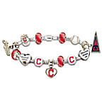 MLB-Licensed Go Cleveland Indians! #1 Fan Women's Sterling Silver Plated Jewelry Charm Bracelet