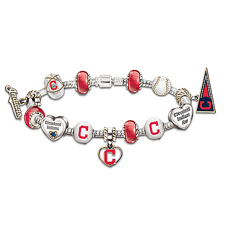 MLB Licensed Cleveland Indians Beaded Bracelet with 13 Interchangeable Charms