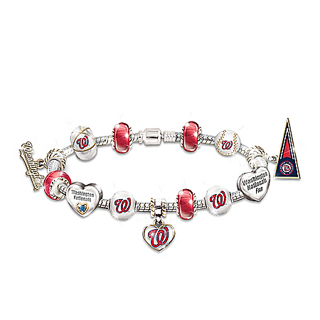 Go Washington Nationals! #1 MLB Fan Women's Charm Bracelet