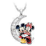 Disney I Love You To The Moon And Back Mickey Mouse And Minnie Mouse Pendant Necklace