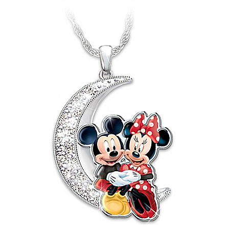 Disney Mickey Mouse And Minnie Mouse Moon Pendant With Swarovski Crystals