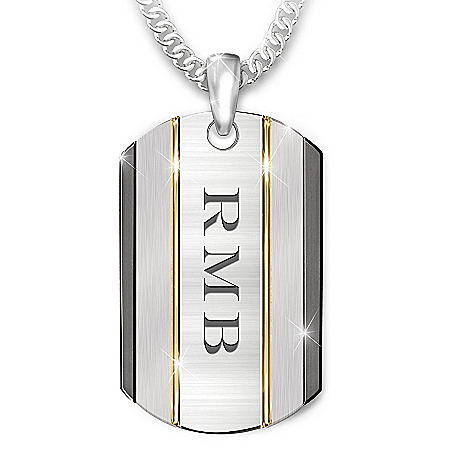 The Strength Of My Grandson Personalized Stainless Steel Dog Tag Necklace