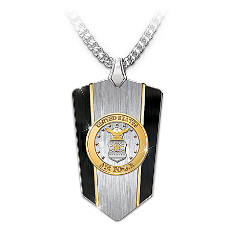 U.S. Air Force Stainless Steel Shield Pendant Necklace