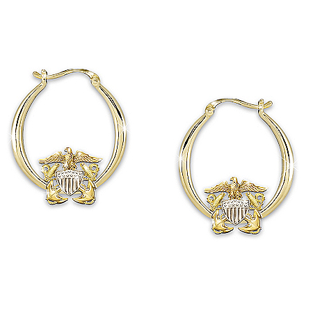 Navy Pride Women's Engraved Earrings With Sculpted Emblem