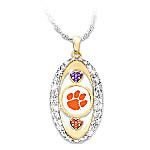 18K Gold Plated Clemson Tigers Pride! Swarovski Crystal Hearts Pendant Necklace