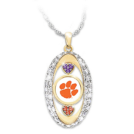 Licensed Clemson Tigers Swarovski Crystal Pendant Necklace: Bradford Exchange