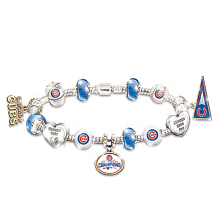 Chicago Cubs 2016 World Series Champions Sterling Silver-Plated Charm Bracelet