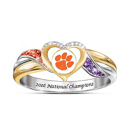 Clemson Tigers 2016 College National Champions Pride Ring With Team Colored Crystals