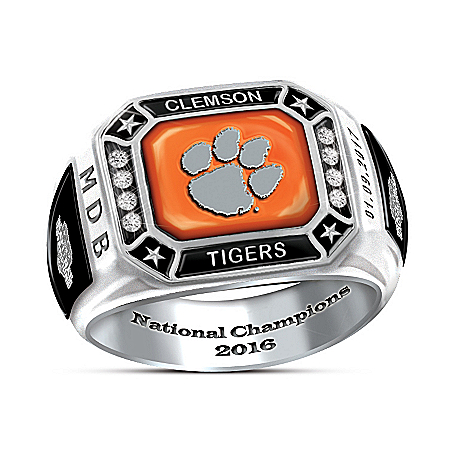 Handcrafted Clemson Tigers 2016 National Champions Personalized Stainless Steel Ring