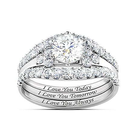 Alfred Durante I Love You Always Women's Topaz Stacking Ring