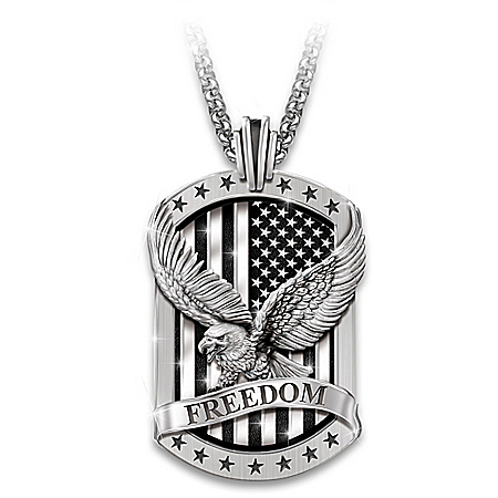 Freedom's Reign Men's Stainless-Steel Dog Tag Pendant Necklace