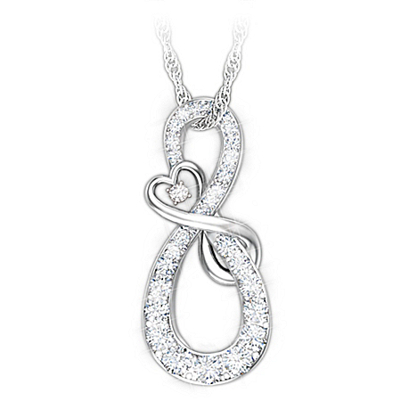 Mother & Daughter Diamond Infinity Sterling Silver Pendant Necklace