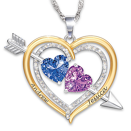 Love Struck Women's Personalized Crystal Birthstone Pendant Necklace