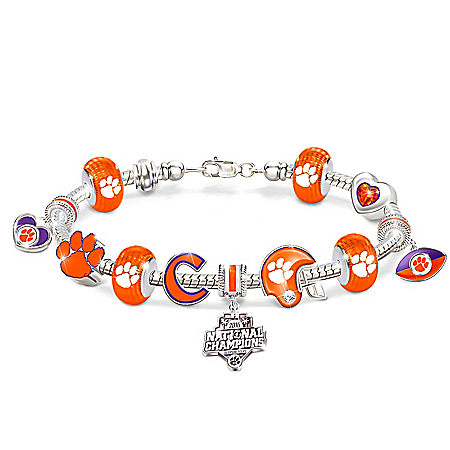 Clemson Tigers 2016 National Champions 18K Gold & Sterling Silver Plated Charm Bracelet