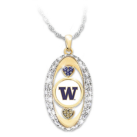 18K Gold Plated Washington Huskies Pride! Swarovski Crystal Hearts Pendant Necklace