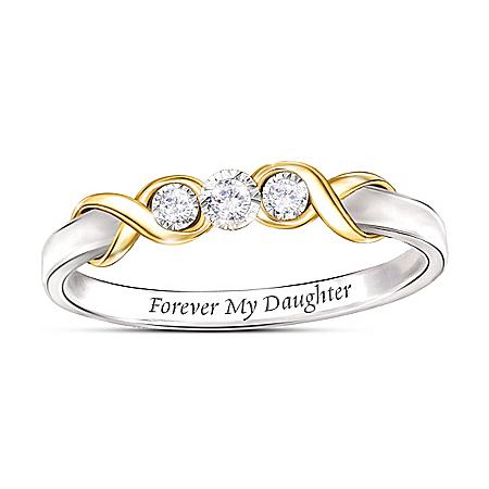 Forever My Daughter Three Stone Diamond Ring