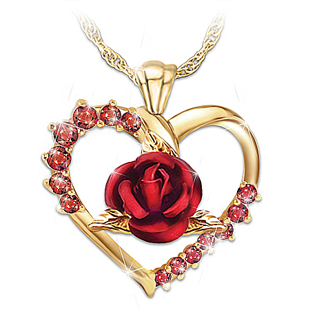 Forever Yours Women's Ruby Heart-Shaped Pendant Necklace