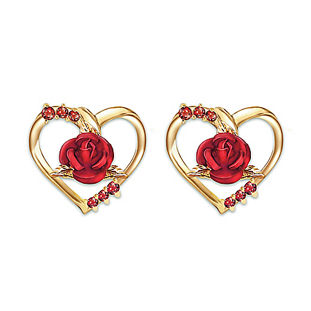 Forever Yours Ruby Earrings With Sculpted Roses