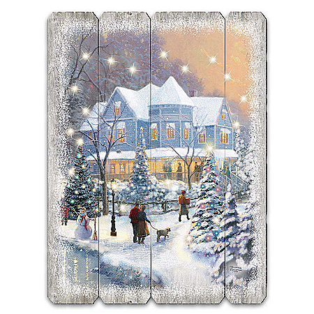 Thomas Kinkade On A Starlit Winter's Night Holiday Wood Wall Decor