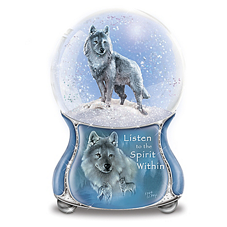Eddie LePage The Spirits Within Awaits Silver Scout Musical Glitter Globe