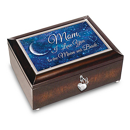 Mom, I Love You To The Moon And Back Music Box With Poem Card: Bradford Exchange