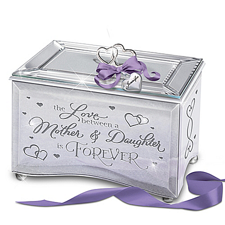 Mirrored Music Box For Daughters: Name Engraved Heart Charm with Purple Ribbon