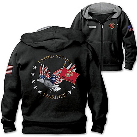 USMC Pride Personalized Men's Easy-Care Comfort Knit Hoodie
