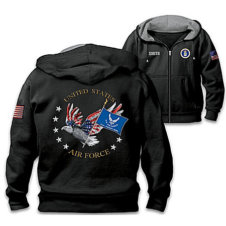 Air Force Pride Personalized Men's Easy-Care Comfort Knit Hoodie