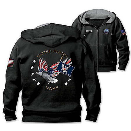 Navy Pride Personalized Embroidered Men's Knit Hoodie