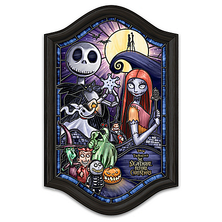 Disney Tim Burton's The Nightmare Before Christmas Illuminated Stained-Glass Wall Decor