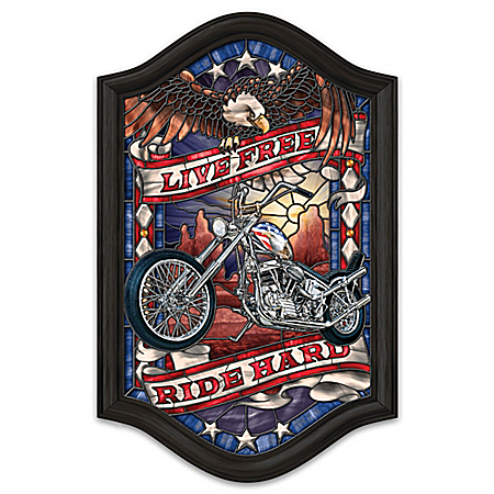 Live Free, Ride Hard Illuminated Motorcycle Stained-Glass Wall Decor